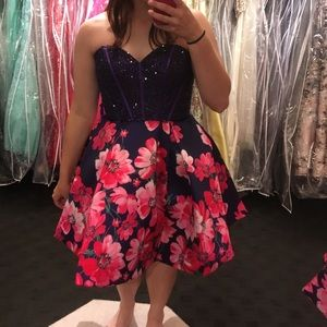Purple and Pink Floral Homecoming Dress